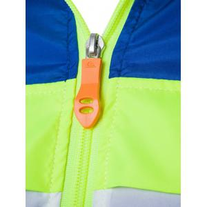 Color Block Splicing Hooded Zip-Up Polyester Jacket -