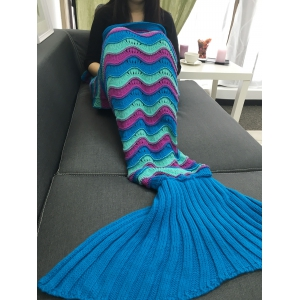 Color Block Crochet Knitting Mermaid Tail Design Blanket - COLORMIX
