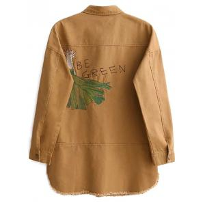 Embroidered Overshirt - YELLOW L