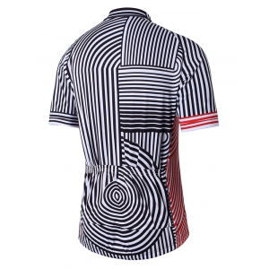 Striped Raglan Sleeve Zip Up Cycling Top - BLACK 3XL