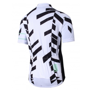 Geometric Print Raglan Sleeve Zip Up Perforated Cycling Top - WHITE L