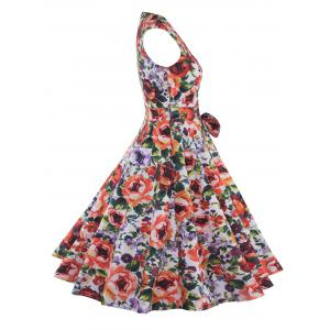 Sweetheart Neck Bowknot Floral Print Dress - COLORMIX 2XL
