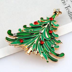 Enamel Christmas Tree Brooch - GREEN