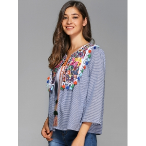 Colorful Embroidery Striped Tie Blouse -