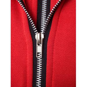 Faux Twinset Hooded Varsity Stripe Double Zip-Up Jacket -