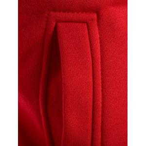 Faux Twinset Hooded Varsity Stripe Double Zip-Up Jacket - RED 2XL