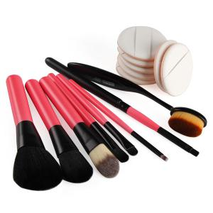 8 Pcs Makeup Brushes Set and BB Cream Air Cushion Puffs - RED