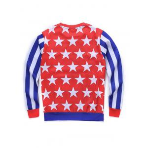 Round Neck 3D Star and Stripe Tatto Girl Print Long Sleeve Sweatshirt - COLORMIX XL
