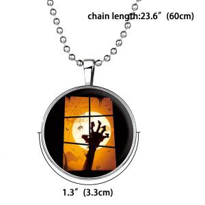 Bat Hand Pattern Pendant Halloween Necklace - SILVER