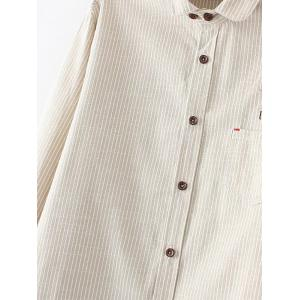 Embroidered Striped Buttoned Shirt -