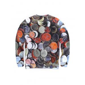 Round Neck 3D Coins Print Long Sleeve Sweatshirt - COLORMIX L