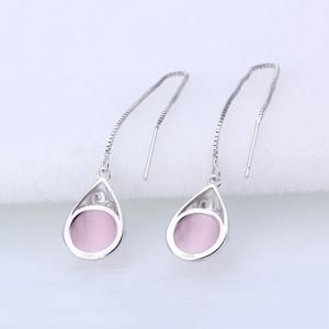 Waterdrop Faux Gem Chain Earrings - PINK