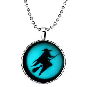 Fly Besom Witch Pendant Halloween Necklace - SILVER