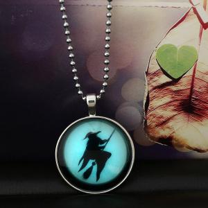 Fly Besom Witch Pendant Halloween Necklace -