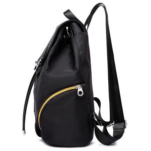 Nylon Drawstring Zippers Backpack - Pourpre