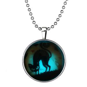Cat Bat Pendant Halloween Necklace - SILVER
