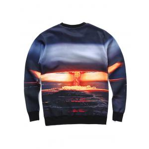 Round Neck 3D Bomb Scene Print Long Sleeve Sweatshirt -