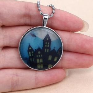 Bat Cross City Pendant Halloween Necklace - SILVER