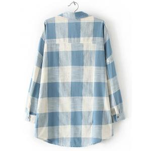 Plaid Pocket Design Loose Juniors Shirt -