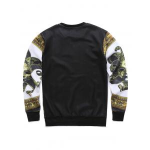 Round Neck 3D Mask Print Long Sleeve Sweatshirt -