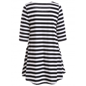 Casual A Line Pocktes Striped Dress -