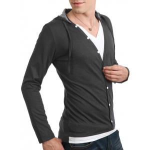 Long Sleeve Button Up Drawstring Hooded T-Shirt -