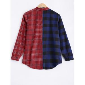 Stand Neck Color Block Checked Shirt -