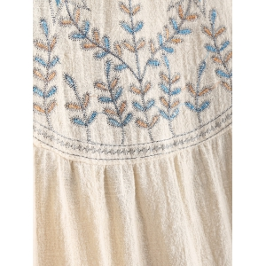 Round Neck Long Sleeve Embroidered Blouse -