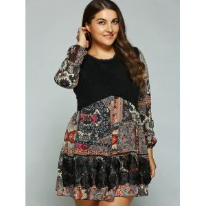 Plus Size Printed Splicing Mini Dress - BLACK 4XL