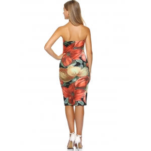Skinny Strapless Print Dress -