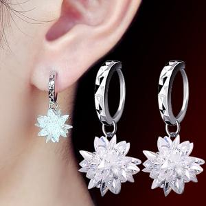 Faux Crystal Flower Pendant Earrings - WHITE