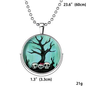 Tree Bows Skulls Pendant Halloween Necklace -