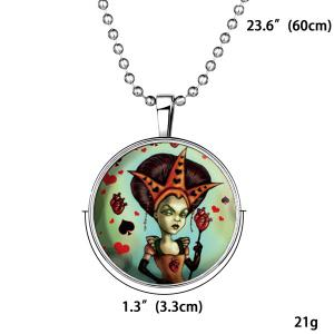 Heart Poker Witch Flower Halloween Necklace -