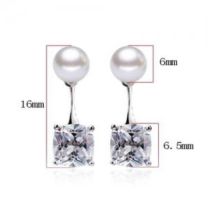 Faux Pearl Square Rhinestone Stud Earrings - WHITE
