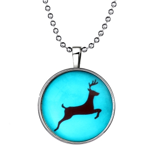 Snow Elk Pattern Pendant Christmas Necklace -