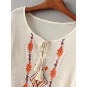 Embroidered Peasant Top With Tie Detail -