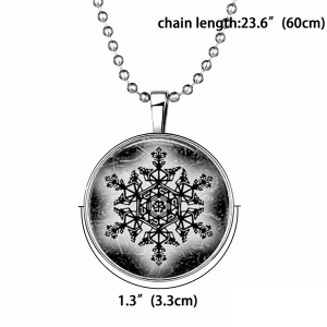 Geometric Devil Snowflake Halloween Christmas Necklace - SILVER