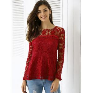 Elegant Applique Solid Color Top For Women -