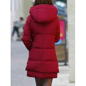 Hooded Puffer Coat - WINE RED 3XL