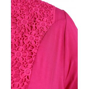 Plus Size V Neck Flower Mexican Embroidered Blouse - ROSE MADDER 3XL