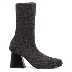 Square Toe Chunky Heel Sequined Sock Boots - BLACK 38