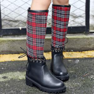 Splicing Plaid Pattern Criss-Cross Boots -