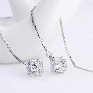 Rhinestone Inlaid Pendant Chain Earrings - SILVER