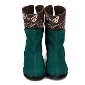 Color Block Embroidery Mid-Calf Boots -