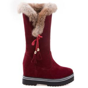 Tassels Hidden Wedge Mid Calf Boots - DEEP RED 39