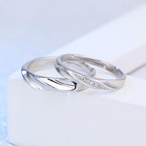 Brief Polished Rhinestone Couple Rings - SILVER