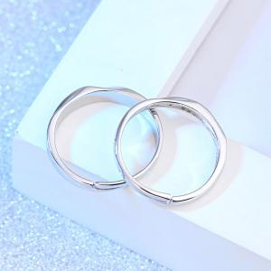 Brief Polished Rhinestone Couple Rings -