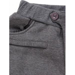 Casual Pleated Insert Buttoned Jogger Pants - BLACK L
