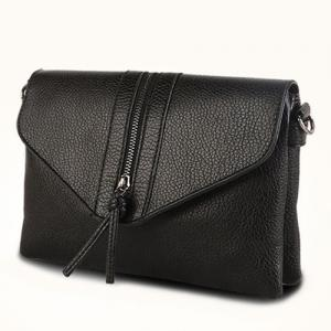 Zip Textured PU Leather Crossbody Bag -