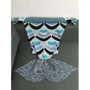 Super Soft Stripe Design Acrylic Knitted Mermaid Tail Blanket - COLORMIX W31.50INCH*L70.70INCH